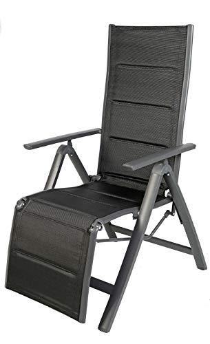 FineHome Gartenstuhl - Relaxsessel - zusammenklappbar - gepolstert - Aluminium -6-Fach verstellbar