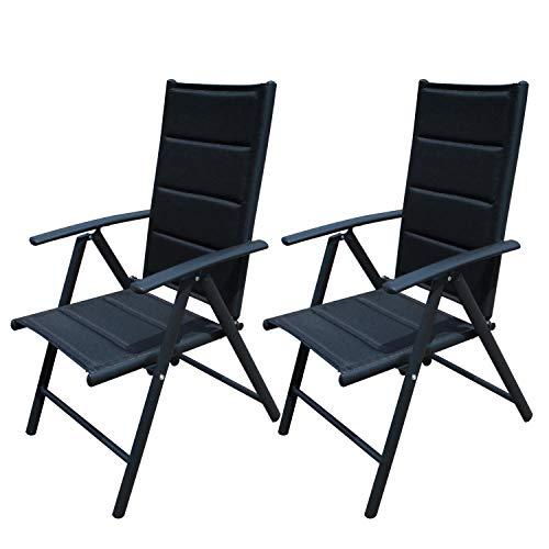 RedNeck gepolsterter Gartenstuhl 2er Set-Hochlehner (Aluminium), schwarzer Rahmen, Klappstuhl (Garten, Terrasse, Balkon), Rückenlehne 7-Fach verstellbar, Polsterung UV-beständig