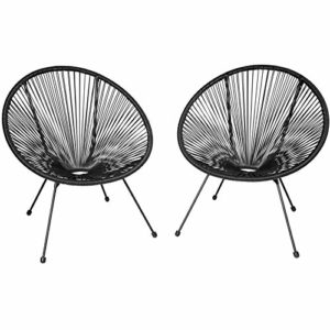 TecTake 800729 2er Set Acapulco Garten Stuhl, Lounge Sessel im Retro Design, Indoor und Outdoor, pflegeleicht, Relaxsessel zum gemütlichen Sitzen - Diverse Farben - (Schwarz | Nr. 403302)